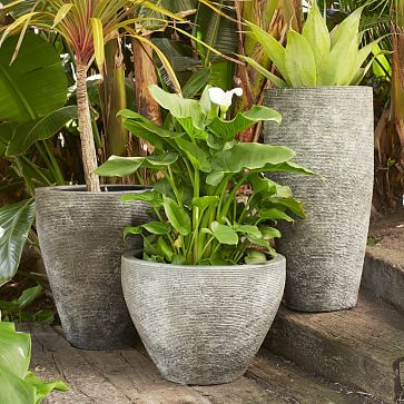 """Ridged Stone Planters #westelm $199 for tall option which is 16""""diam. x 32""""h.  ($169 over Mem Day weekend)"""