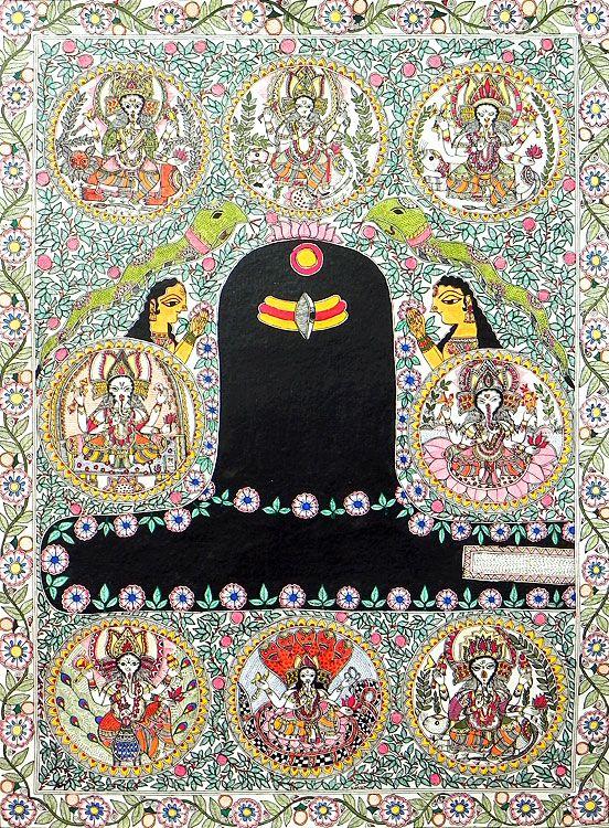 Shivalinga with Ashta Vinayaka - Madhubani Painting - $98.00 only