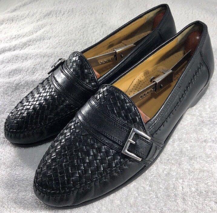 86d04dc0fbc Cole Haan Shoes Men s Black Woven Leather Monk Strap Buckle Loafers Size  10.5 M