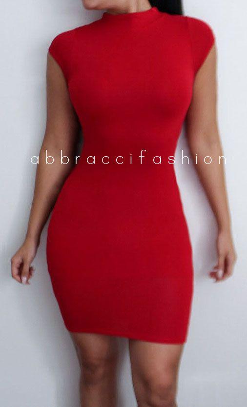 Red Crew Neck Bodycon Dress Short Sleeve Thigh by AbbracciFashion