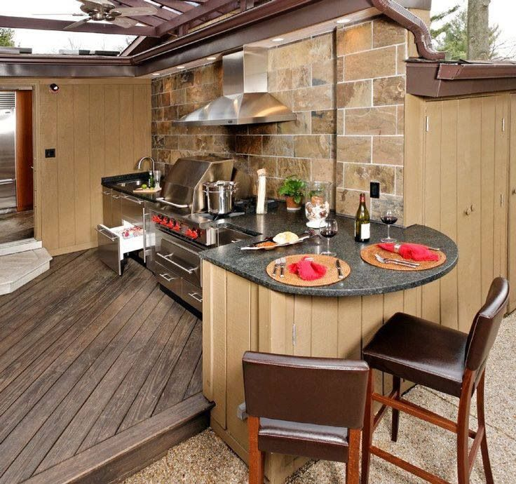 Outdoor cooking area.