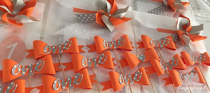 festa di compleanno arancione e grigio | First Birthday Party Orange and Grey
