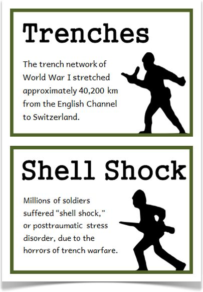World War One Fact Cards - Treetop Displays - A set of 18 A5 fact cards that give fun and interesting facts about World War I. Each fact card has a key word heading, making this set a fantastic topic word bank as well! Visit our website for more information and for other printable resources by clicking on the provided links. Designed by teachers for Early Years (EYFS), Key Stage 1 (KS1) and Key Stage 2 (KS2).