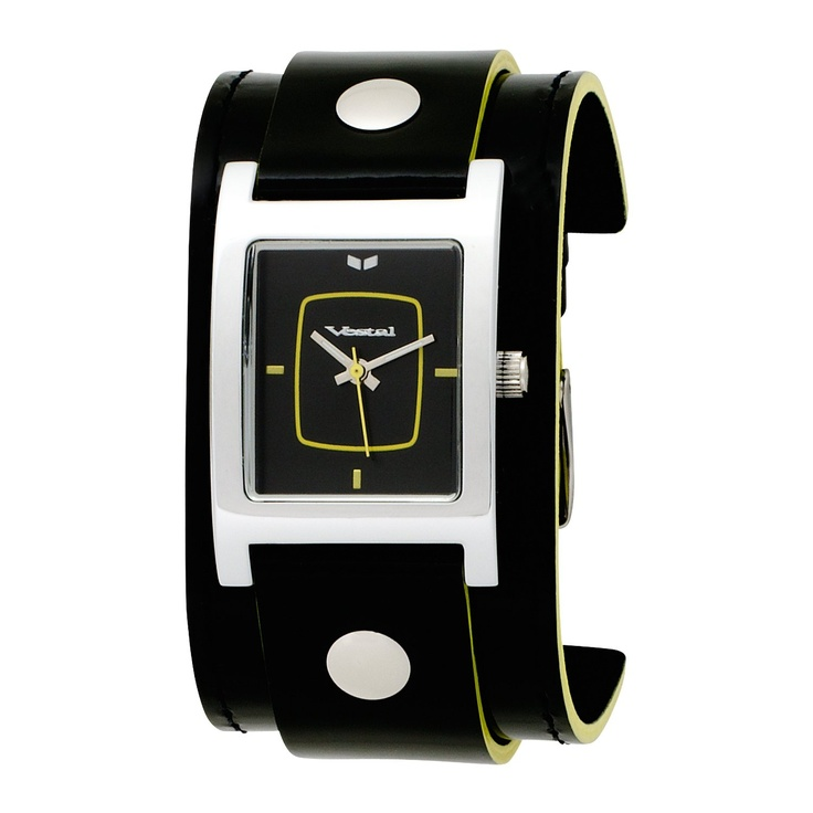 Vestal Women's  EA020 Electra Black Leather Yellow Edge Watch, (watches, casual watch, leather banded, trendy, womens, fossil womens, fossil casual, trendy watch, very good)