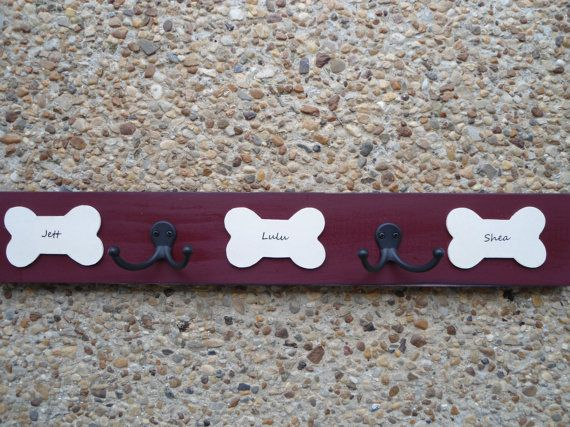 pet leash hooks, personalized, dog lovers leash hangers, with pups' names and double hook on Etsy, $32.50
