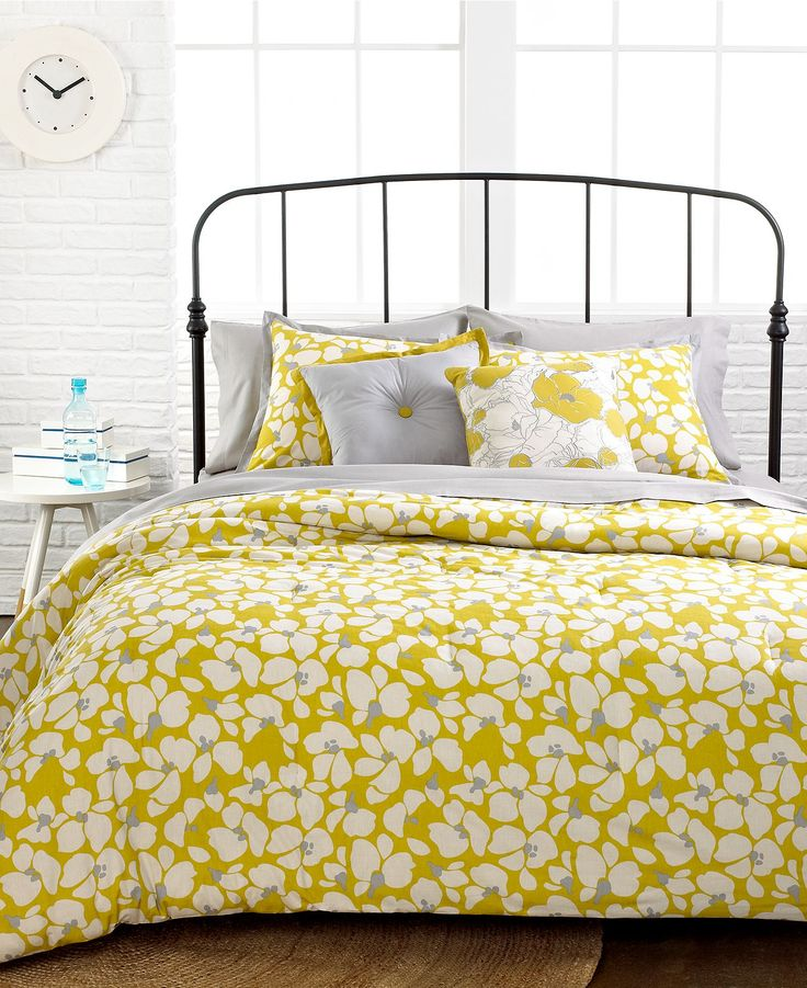 Merian 5 Piece Comforter and Duvet Cover Sets - Duvet Covers - Bed & Bath - Macy's { yellow and grey floral bedding }