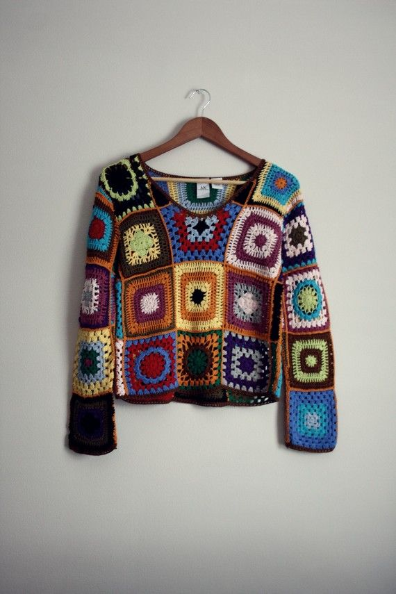 Vtg Armani Exchange Crochet Hippie Sweater Small by PARASOLvintage