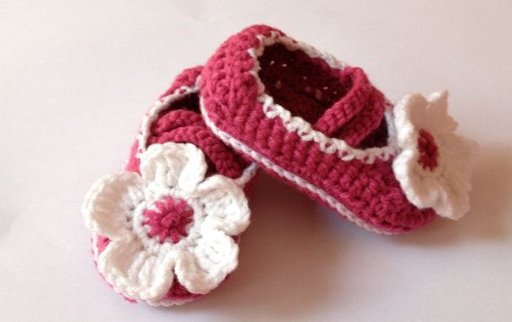 Mary Jane Shoes Crochet Mary Janes Pink Baby by LavenderBlossoms, $15.00