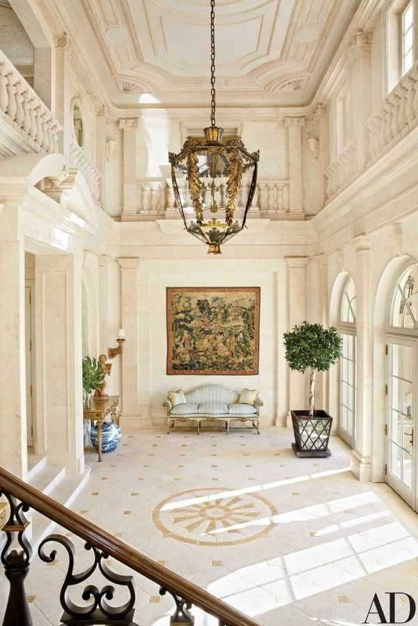 The entrance hall of Amado, a circa-1920 Palm Beach, Florida, mansion built by architect Addison Mizner and renovated by David Easton | archdigest.com