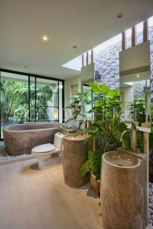 18 Tropical Bathroom Design Photos  While this is tropical it could be adapted to the ranch and is a spectacular bathroom. Looks like the pedastal basins an the bathtub are made of cement.