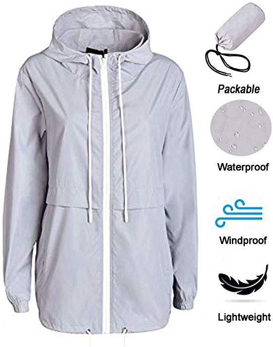 b693429044f285 Amazon.com  WinSi Women s Waterproof Raincoat Active Outdoor Hooded Rain  Jacket Packable Lightweight Windbreaker Grey L  Clothing
