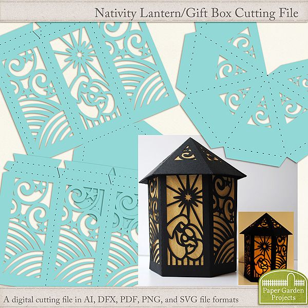 Digital cutting file to create a nativity style lantern for a battery operated tea light.  Can also be used as a gift box.  SVG files included