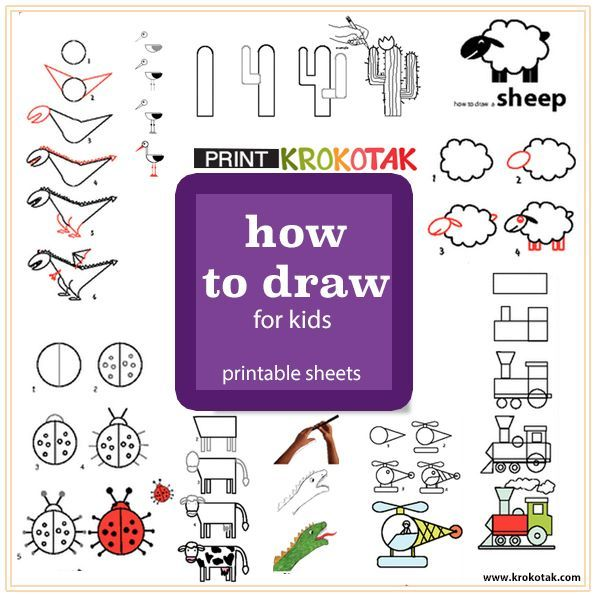 """how to draw for kids - printable sheets Make sure you select """"LANDSCAPE"""" mode in your printer settings if needed.:"""