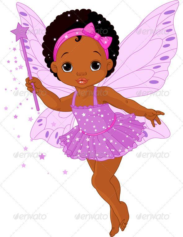 Cute Black Baby Girl Cartoon