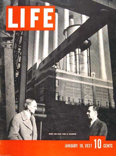 1937 original vintage Life magazine cover. Features view of Henry and son Edsel Ford outside their Dearborn, Michigan automobile plant.