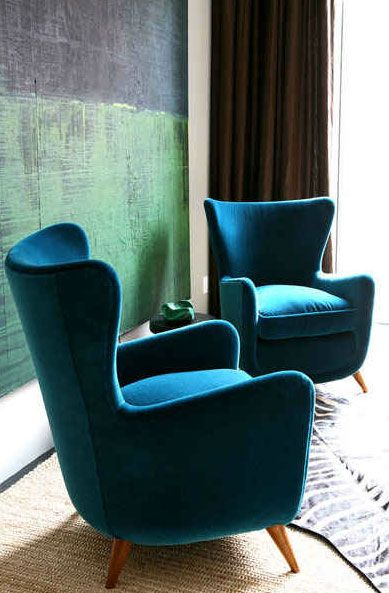 blue-velvet-chairs - love the retro shape, these look very comfy!