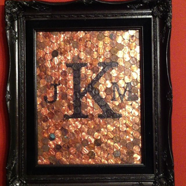 Traditional gift for 7th wedding anniversary is copper. Pennies + old frame with new paint + initials = anniversary gift!