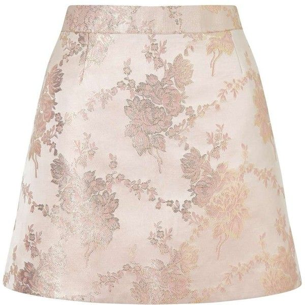 Miss Selfridge PETITE Jacquard Skirt (695 ZAR) ❤ liked on Polyvore featuring skirts, mini skirts, gold color, petite, pink mini skirt, pink skirt, miss selfridge, miss selfridge skirts and short pink skirt