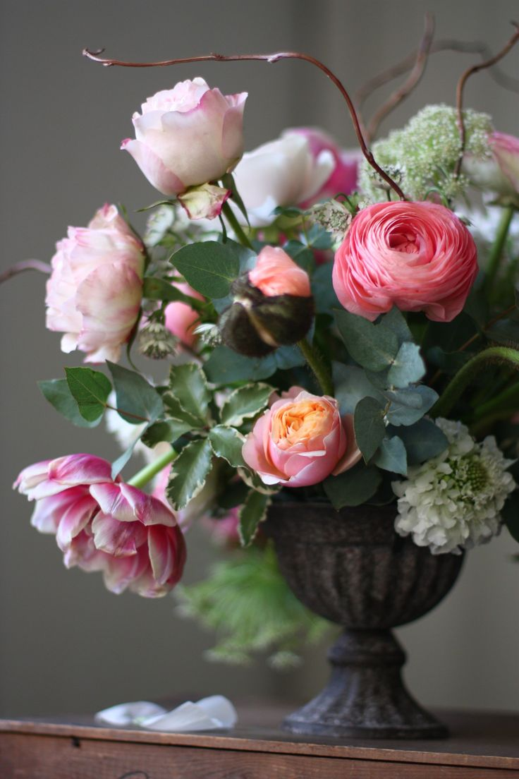 Spring urn filled with gorgeous Tulips, Roses and my favourite, the sumptuous Ranunculus