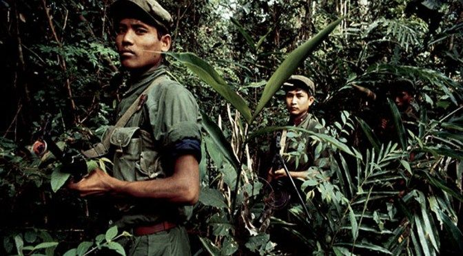 Khmer Rouge guerrillas consolidate in the jungle of western Kampuchea, north of Pailin, as they attempt to halt advancing Vietnamese forces.
