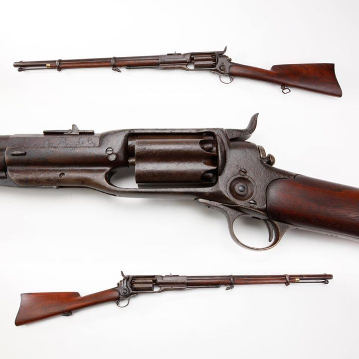 """Colt M1855 Revolving Rifle- Colt's M1855 revolving carbine was likely not well received, once soldiers learned the cylinder chambers had a habit of erupting into multiple discharges, usually when one's support hand was in the """"danger zone"""" ahead of the breech. But the nearly 4,500 carbines manufactured from 1856-64, in .36, .44 and .56 caliber variants, did offer repeating capability in a time when the single shot musket was standard military issue. NRA Museum in Fairfax, VA."""