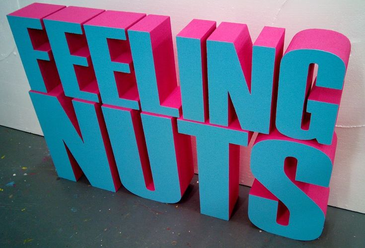 Bright two tone painted polystyrene letters