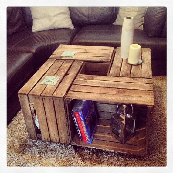 This Coffee Table Is Handmade From 4 Rustic Apple Crates Sitting On
