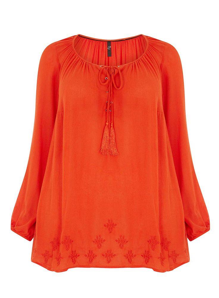 Evans Orange Embroidered Hem Gypsy Top