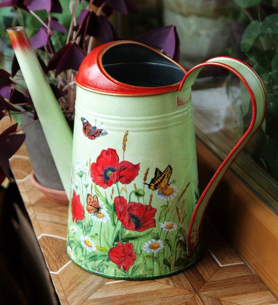 Metal galvanized watering can Decoupage Modern vase Decorative Camomile Poppy flower Garden water can Gift idea for women Flower vase