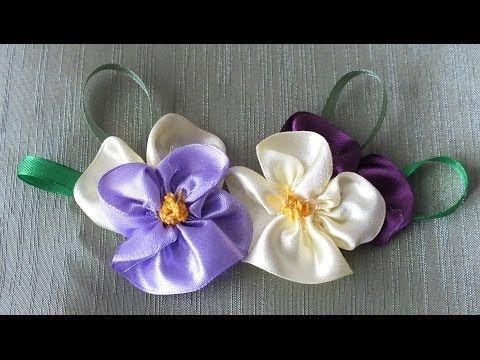 цветок Анютины глазки из лент за 5 мин Quick & Easy Satin Ribbon Flower - Tutorial - YouTube