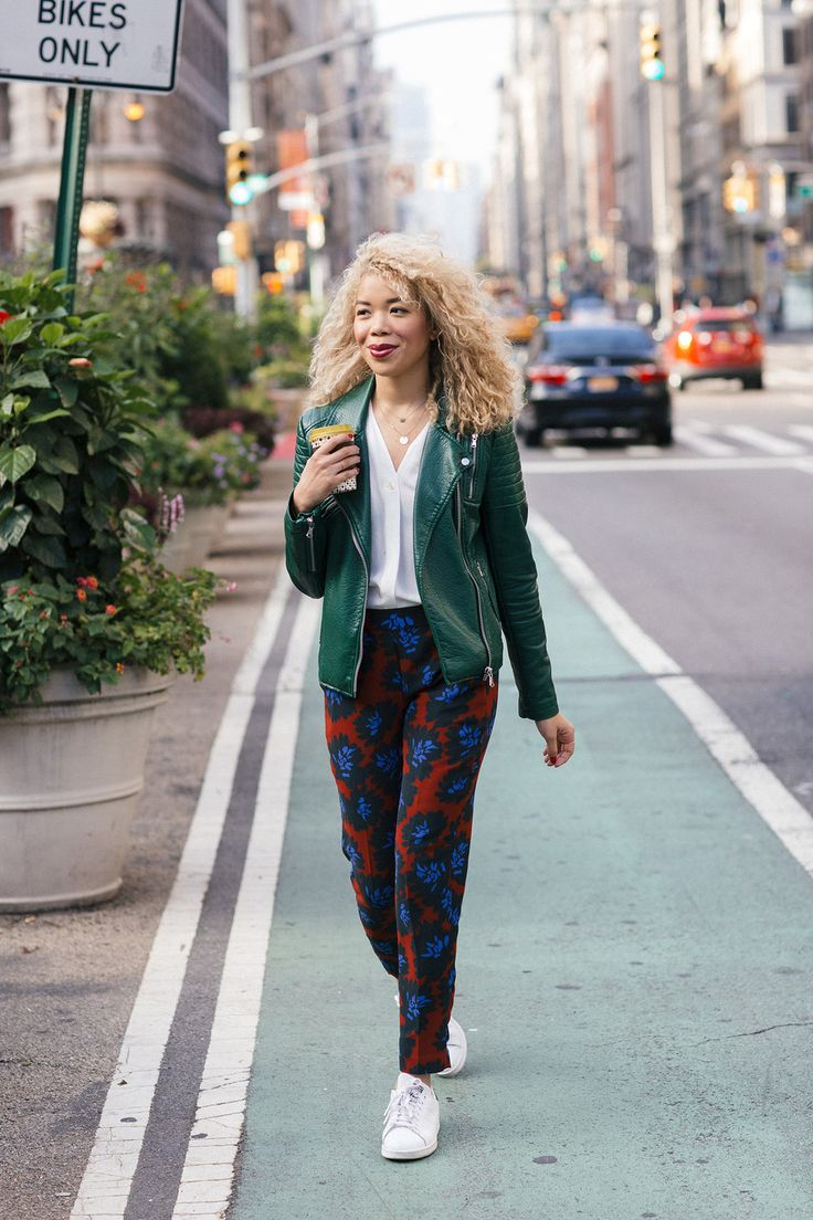 Red floral pants and a moto jacket makes this look pop!   Wearing J. Crew pants, a white button down, Joe Fresh jacket, and Stan Smiths.