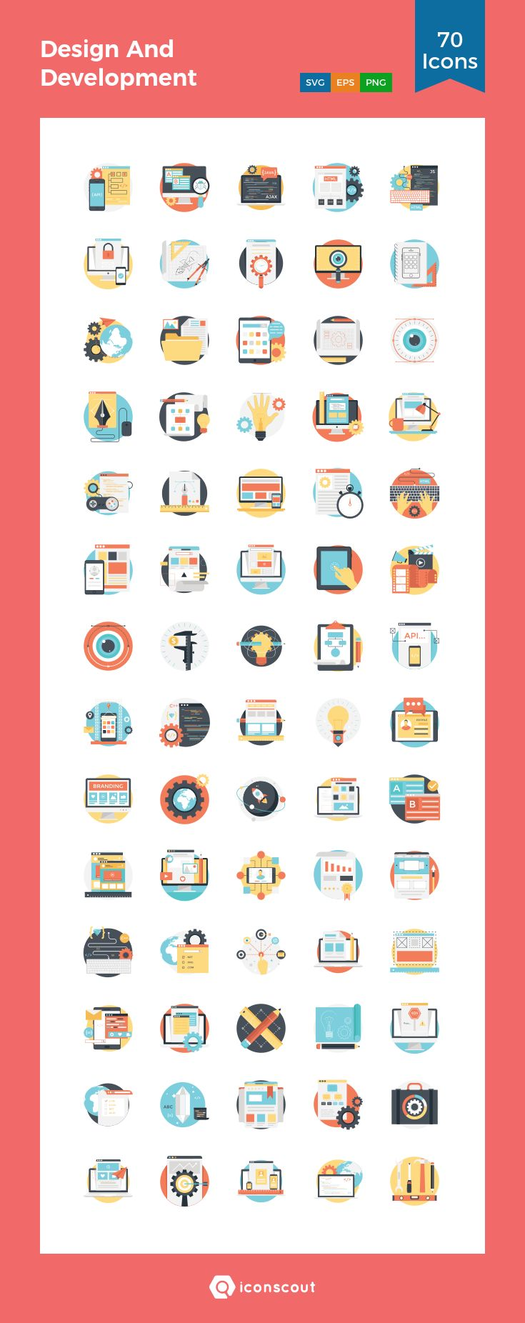 Design And Development  Icon Pack - 70 Flat Icons