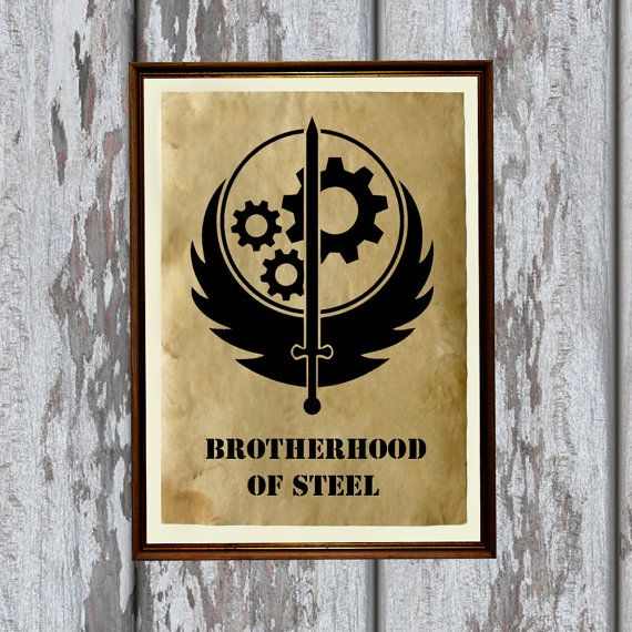 Apocalyptic decor Fallout print Brotherhood of Steel by artkurka, $18.00