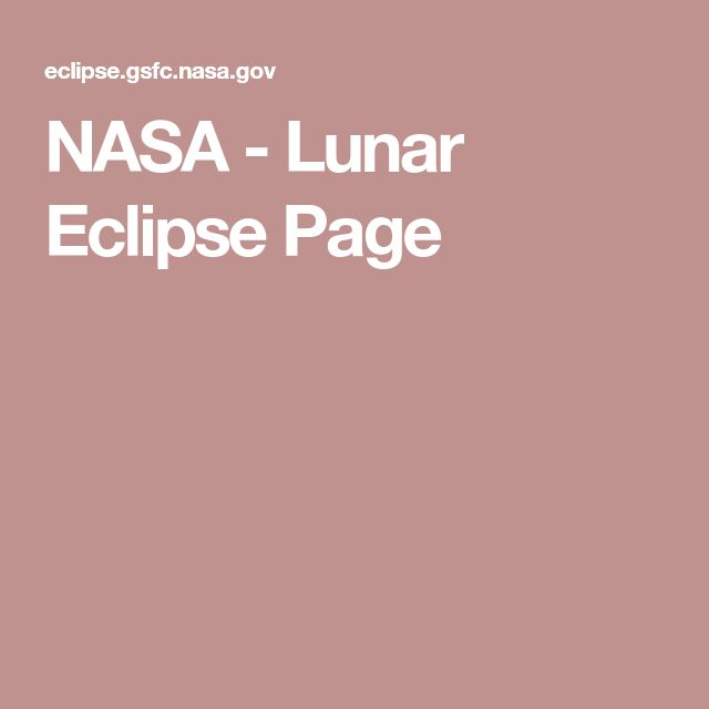 NASA - Lunar Eclipse Page