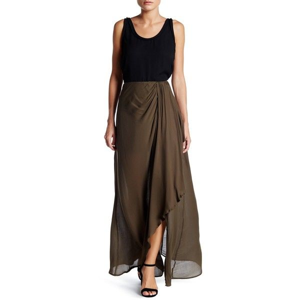 Dress Forum Draped Maxi Skirt ($36) ❤ liked on Polyvore featuring skirts, olive, floor length skirts, rayon skirt, draped skirts, maxi skirts and olive maxi skirt