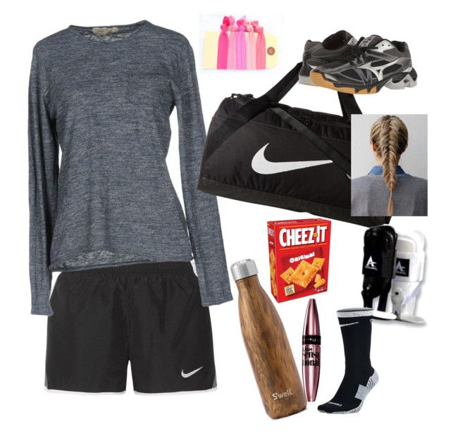 """Volleyball practice/ what's in my gym bag"" by laneyjerry on Polyvore featuring NIKE, Athletic Vintage, West Elm, Mizuno and Maybelline"