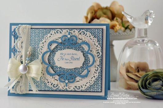 Card designed by Becca Feeken using JustRite Fleur De Lis Background Stamp.