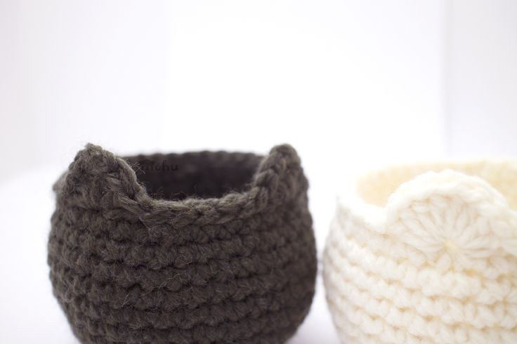 Crochet cat and bear baskets Here's a pattern for a simple round basket with little animal ears. [[MORE]]Skill level: Easy You'll need to know how to crochet in the round and make single, half-double,...