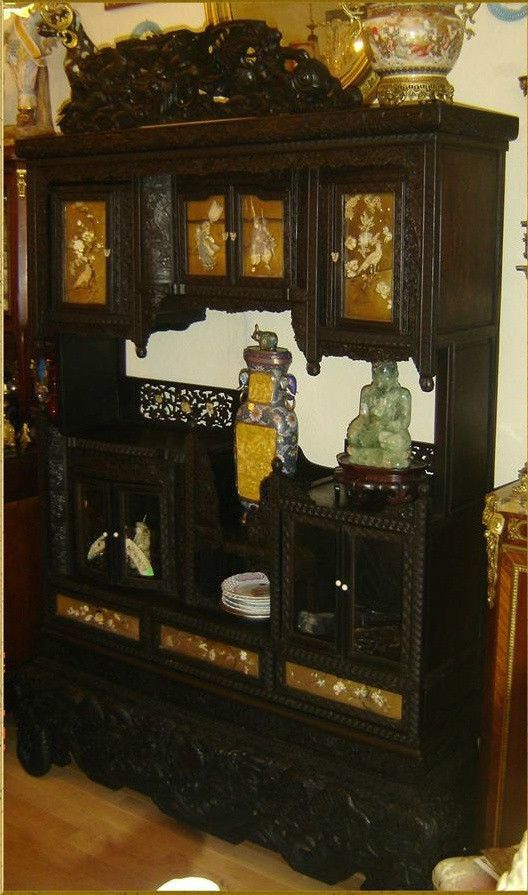 Antique japanese meiji period shibayama display cabinet rare large 79