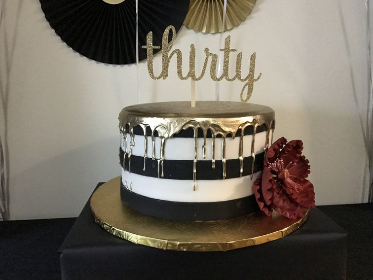 30th Birthday Cake Black, white, and gold