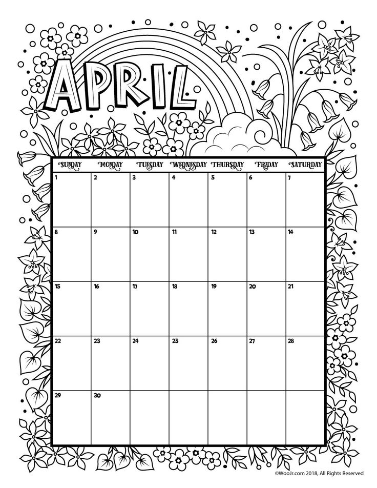 April 2018 Coloring Calendar Page Woo! Jr. Kids