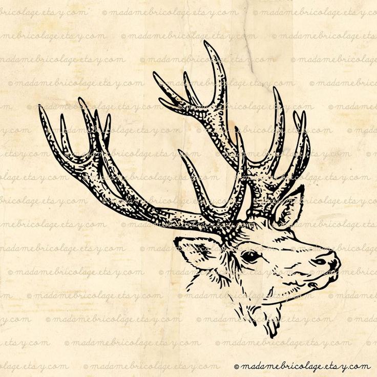 Deer+Head+Digital+Image+Digital+Download+for+door+MadameBricolage,+$2,00