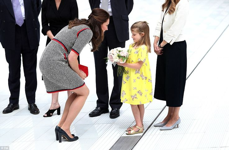 Lydia Hunt, six, was given a very important role in presenting Kate with a bouquet to welcome her to the art institute