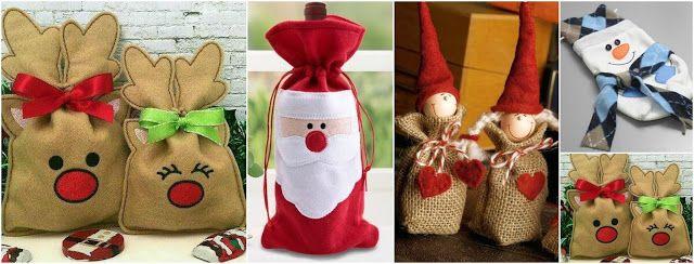 Aprende cómo hacer lindas bolsitas navideñas para regalar en navidad ~ Manoslindas.com