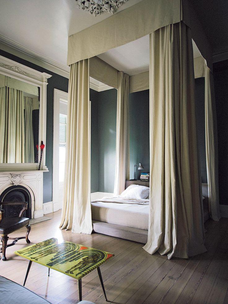 Modern twist on traditional canopy w/ platform bed