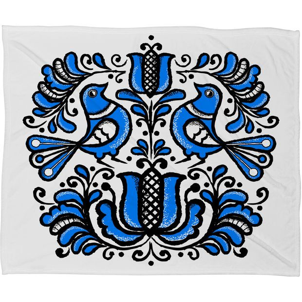 Chobopop Korond Folk Art Fleece Throw Blanket