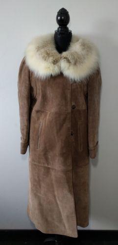 Vintage Coyote Fur Collar Suede Coat Hippie Boho Ladies Size 12 Jacket Brown