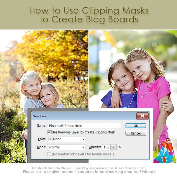 Learn how to create a Blog Board in Photoshop | Clipping Masks tutorial via iHeartFaces.com