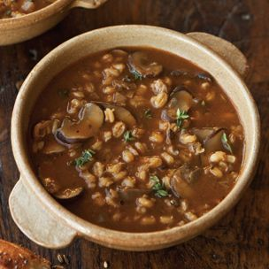 Savory Barley Soup with Wild Mushrooms and Thyme | Williams-Sonoma - use veggie broth. This sounds so delicious and cozy!!