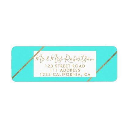 Gold typography aqua stripes beach chic wedding label - chic design idea diy elegant beautiful stylish modern exclusive trendy